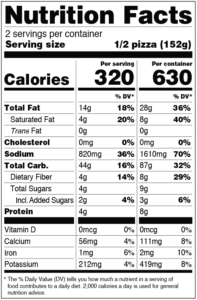Clo Clo Vegan Foods CHEESE Pizza NUTRItional facts