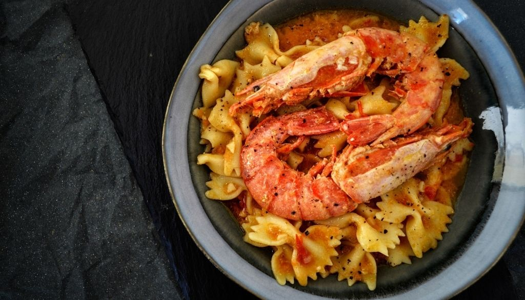 Shellfish allergy with seafood pasta.