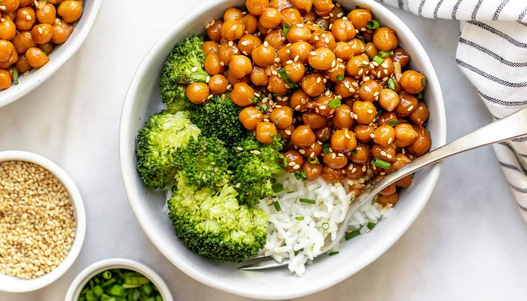 Vegan Sticky Sesame Chickpea from Eat with Clarity by Claire Cary