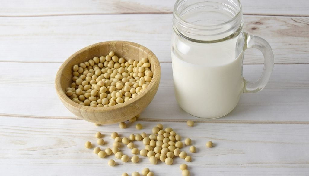 Soy allergy with soy beans and soy milk.