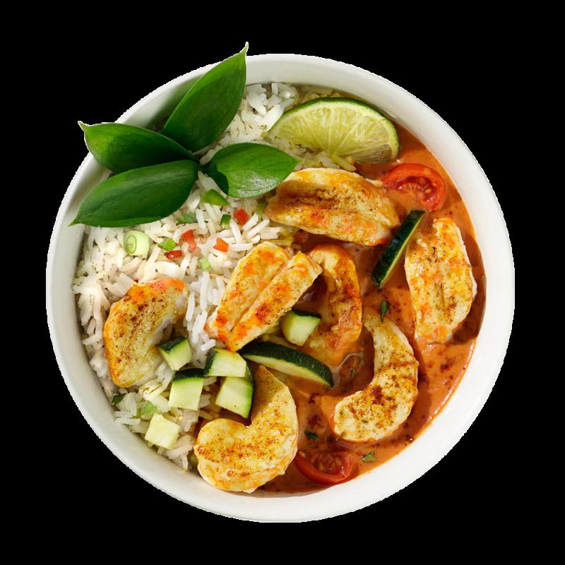 CLO-CLO Vegan Foods Red Curry Shrimp Bowl Hero