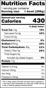 CLO-CLO Vegan Foods Mac and Cheeze Nutrition Facts