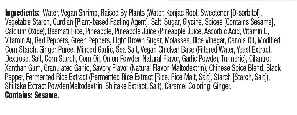 CLO-CLO Vegan Foods Hawaian Shrimp Bowl Ingredients