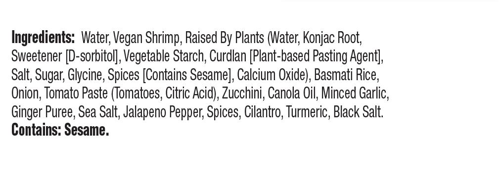 CLO-CLO Vegan Foods Red Curry Shrimp Bowl Ingredients