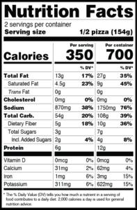 CLO-CLO Vegan Foods Caribbean Nutritional Label
