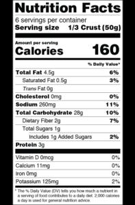 CLO-CLO Vegan Foods Sweet Potato Crusts Nutritional Label