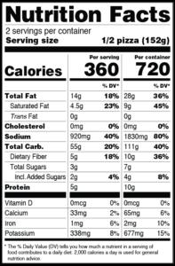 CLO-CLO Vegan Foods TUSCAN Pizza Nutritional Label