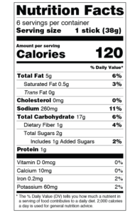 CLO-CLO Vegan Foods Cauliflower Breadsticks Nutrition