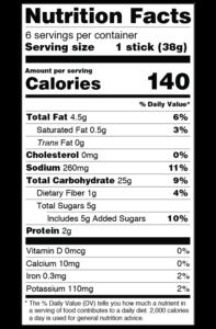 CLO-CLO Vegan Foods Sweet Potato Breadsticks with Sugar and Cinnamon Nutritional Label